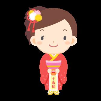 七五三のお祝いで着物を着た女の子の無料ベクターイラスト素材
