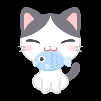 お魚くわえたぶち猫の無料ベクターイラスト素材