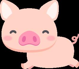 元気に走り回る豚の無料ベクターイラスト素材