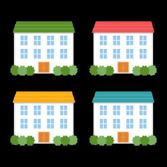 カラフルな屋根のアパート/4色の無料ベクターイラスト素材