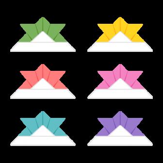 折り紙の兜/6色の無料ベクターイラスト素材