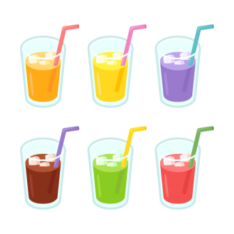 グラスに入ったジュース(ストローつき)/6色の無料ベクターイラスト素材