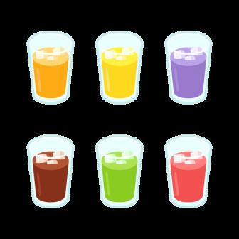 グラスに入ったジュース/6色の無料ベクターイラスト素材
