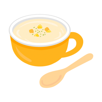 スープカップに注がれたコーンスープの無料ベクターイラスト素材
