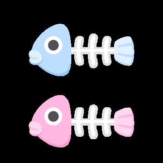 魚の骨/2色の無料ベクターイラスト素材