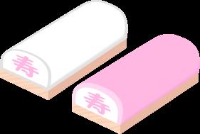 お祝いの紅白かまぼこ(寿)の無料ベクターイラスト素材