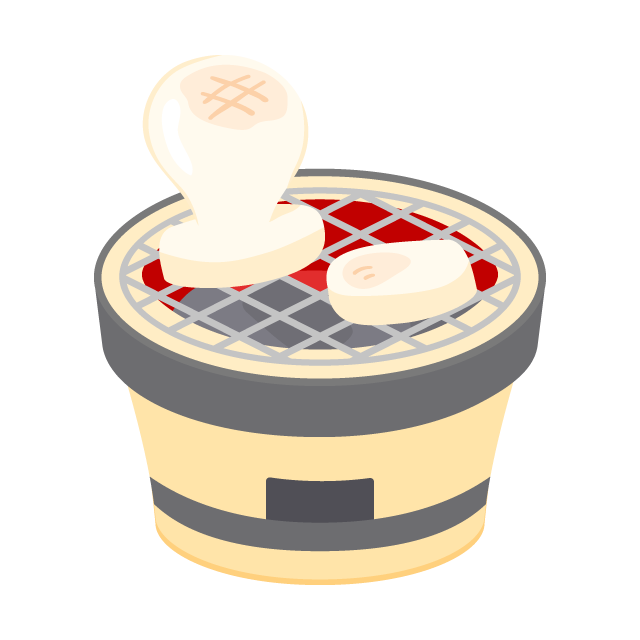 七輪でぷっくり焼き餅の無料ベクターイラスト素材