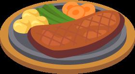 鉄板ステーキの無料ベクターイラスト素材