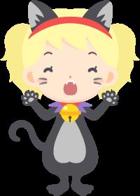 ハロウィンの夜に黒猫の仮装を楽しむ女性の無料ベクターイラスト素材
