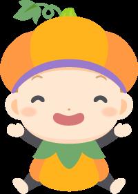 ハロウィンの夜にパンプキンの仮装を楽しむ赤ちゃんの無料ベクターイラスト素材
