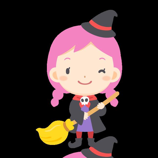 ハロウィンの夜に魔女の仮装を楽しむ女の子の無料ベクターイラスト素材