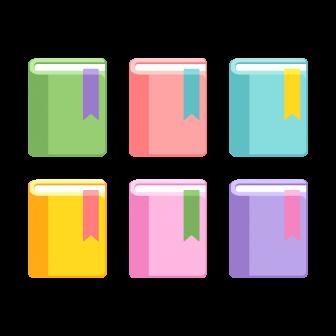 閉じた本(しおり付き)/6色の無料ベクターイラスト素材