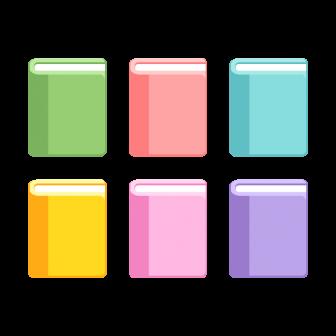 閉じた本/6色の無料ベクターイラスト素材