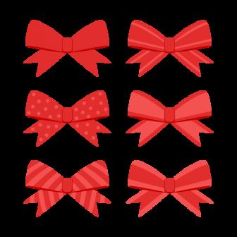 赤いリボン/6種の無料ベクターイラスト素材