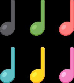 4分音符/6色の無料ベクターイラスト素材