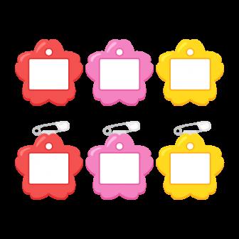 保育園・幼稚園児用桜型の名札(安全ピン付き)/3色の無料ベクターイラスト素材