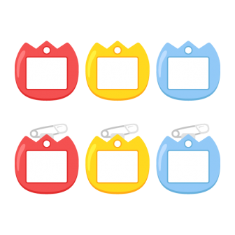 保育園・幼稚園児用チューリップ型の名札(安全ピン付き)/3色の無料ベクターイラスト素材