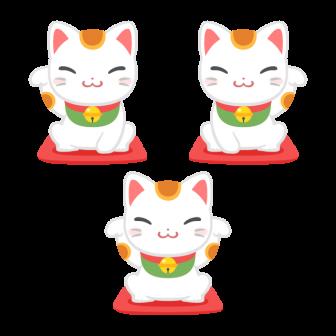 開運招福の三毛招き猫/3種の無料ベクターイラスト素材