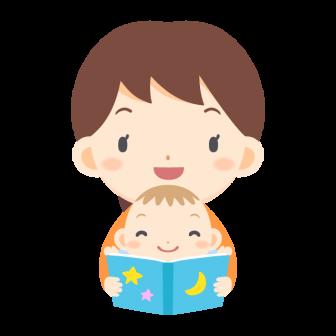 赤ちゃんに絵本を読む女性の無料ベクターイラスト素材