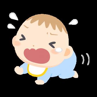泣きながらはいはいで逃げる赤ちゃんの無料ベクターイラスト素材