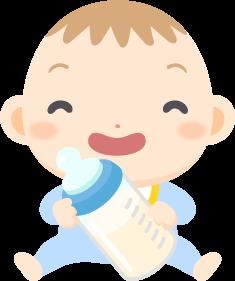 哺乳瓶を手にご満悦な赤ちゃんの無料ベクターイラスト素材