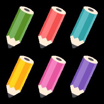 鉛筆/6色の無料ベクターイラスト素材
