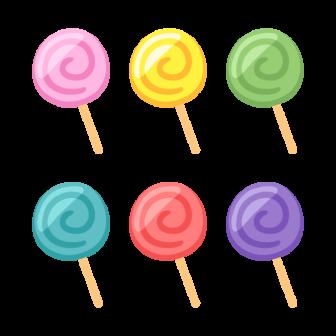 ペロペロキャンディー/6色の無料ベクターイラスト素材