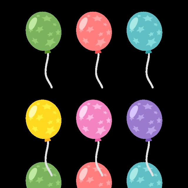 星柄の風船/6色の無料ベクターイラスト素材