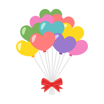 ハートの風船の束の無料ベクターイラスト素材