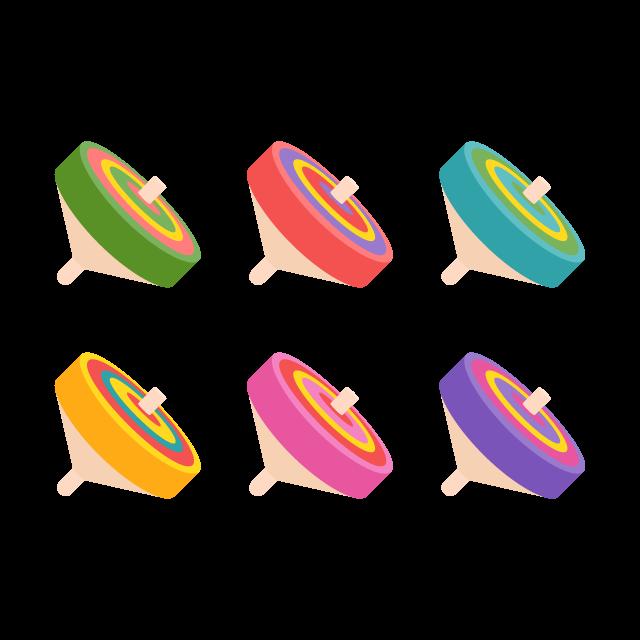 お正月に遊びたい投げゴマ/6色の無料ベクターイラスト素材