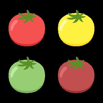 プチトマト/4色の無料ベクターイラスト素材
