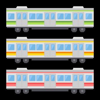 通勤電車・地下鉄/3色の無料ベクターイラスト素材