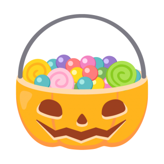 ハロウィンのパンプキンお菓子バケツの無料ベクターイラスト素材