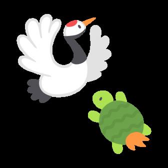 鶴と亀の無料ベクターイラスト素材