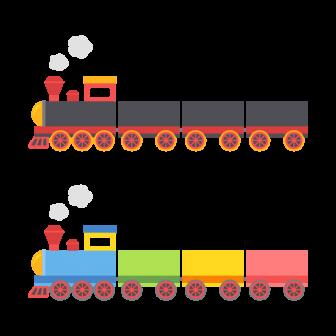 機関車・汽車・SL/2色の無料ベクターイラスト素材