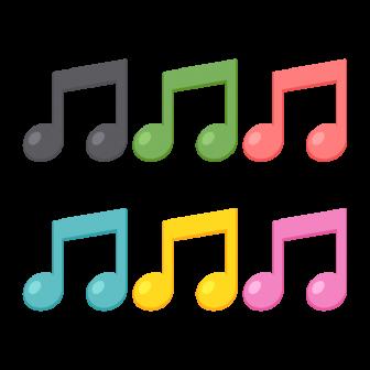 2つつながった8分音符/6色の無料ベクターイラスト素材