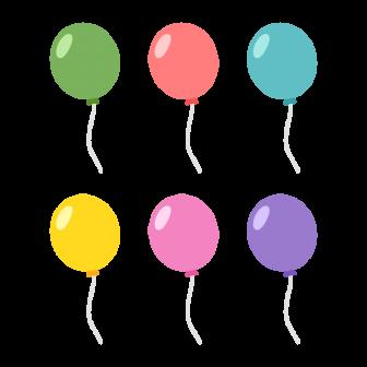 風船/6色の無料ベクターイラスト素材