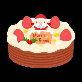 いちごとチョコのクリスマスケーキの無料ベクターイラスト素材