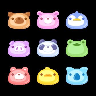 ぷにぷにした動物の顔/9種の無料ベクターイラスト素材