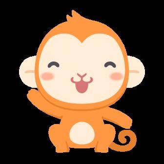 笑顔で手を振る猿の無料ベクターイラスト素材