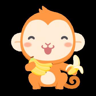 大好きなバナナを手にご満悦な猿の無料ベクターイラスト素材