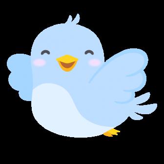 笑顔で飛ぶ青い鳥の無料ベクターイラスト素材