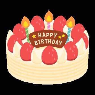 いちごと生クリームの誕生日ケーキの無料ベクターイラスト素材