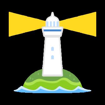 離れ小島にぽつんと建つ白い灯台の無料ベクターイラスト素材