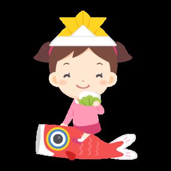 兜を被って柏餅片手に鯉のぼりに乗る女の子の無料ベクターイラスト素材