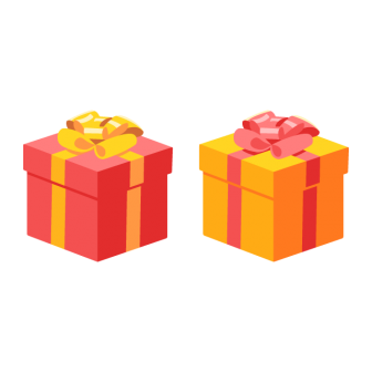 リボンボウ付きの四角いプレゼントボックス/2色の無料ベクターイラスト素材