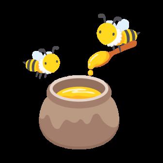 ミツバチと蜂蜜の壺の無料ベクターイラスト素材