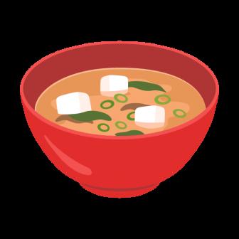 豆腐とワカメのお味噌汁の無料ベクターイラスト素材