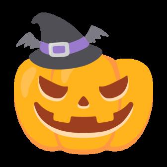 ハロウィンの妖怪ジャック・オ・ランタン(魔女の帽子付き)の無料ベクターイラスト素材