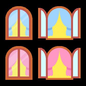 カーテン付きの開閉する窓/2色の無料ベクターイラスト素材